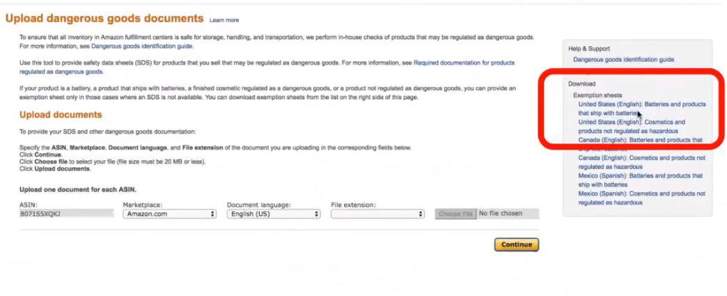 فرم ريويوي برای فروش در سایت آمازون Amazon hazmat