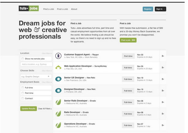 سایت فریلنسر Tuts-Plus-Jobs برای برنامه نویسان