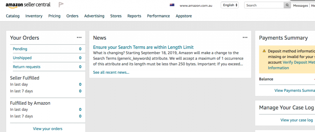 Amazon Seller Central Portal